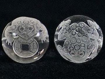 銭蛙(銭返る)☆水晶12mm手彫りビーズ@1個