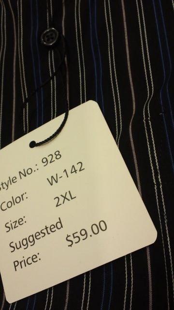LA直輸入!LAGATE ストライプ長袖シャツ 黒ブラック サイズ2XL→XL位 新品 < 男性ファッションの