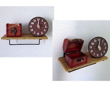 ハンドメイド◆フックバー ウォールシェルフ 時計 小物入れ