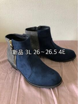 新品☆3L26〜26.5�p4E紺×ツイードショートブーツ☆j104
