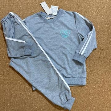 新品タグ付130薄手トレーナー生地パジャマ セットアップ グレー