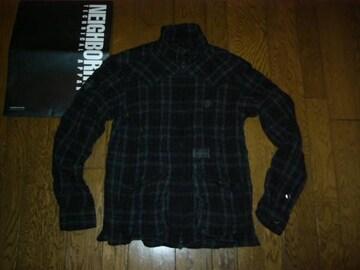 美中古NEIGHBORHOODBLACKICONチェックシャツジャケットS黒