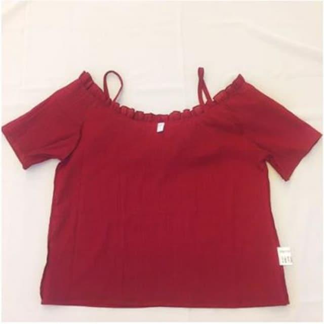 【女の色気100%】ブラウス 半袖 ロ ーズ M 肩紐 【限定】 < 女性ファッションの