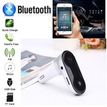 Bluetooth FMトランスミッター 音楽 電話 スマホ SDカード 銀 白