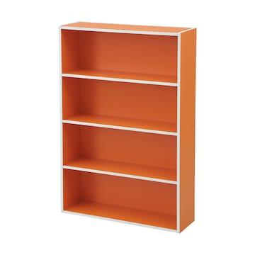 文庫本収納ラック 本棚カラーボックス オレンジ