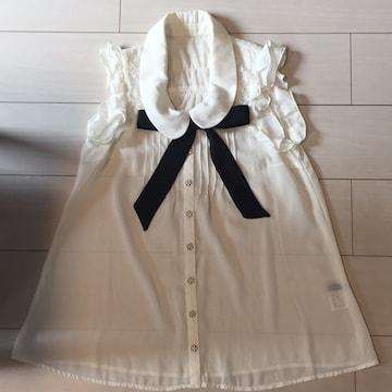 INGNI☆白☆ノースリーブブラウス☆袖なしボータイ付きシャツ