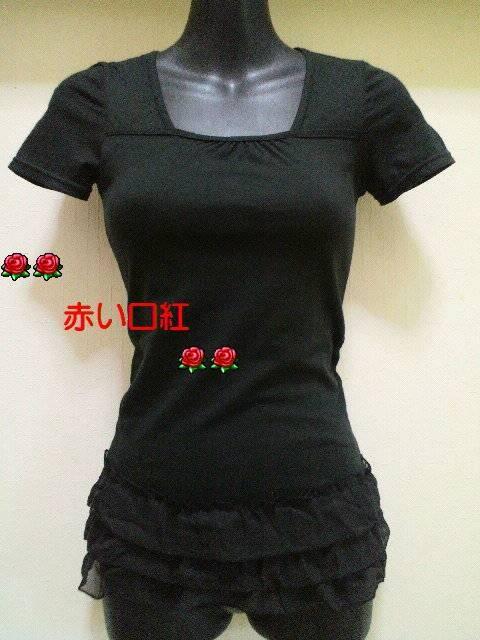 SS〜Sサイズ*細身size裾シホン3段フリル・フレンチ袖・Tシャツブラック  < 女性ファッションの