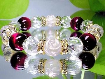 可愛い◆薔薇彫ローズクオーツ・ピンクタイガーアイ・S螺旋水晶◆人気天然石