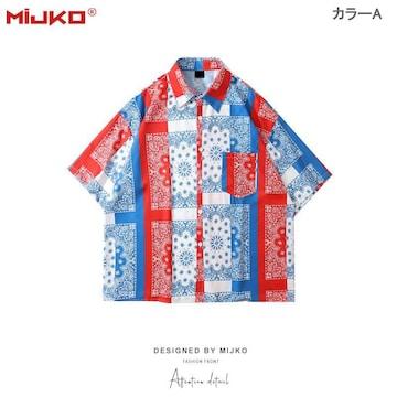 渋谷風 半袖シャツ 男女兼用 ストリート系 アウター
