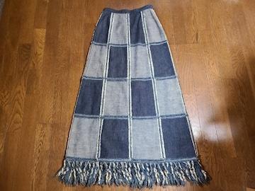 送料無料/継接ぎデザイン裾ダメージ加工デニムロングスカートSサイズ