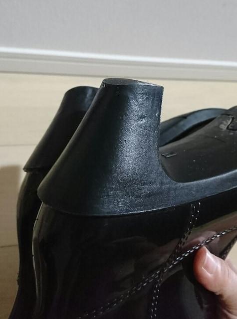 値下げ 編み上げレインブーツ 長靴 サイズM ブラック < 女性ファッションの