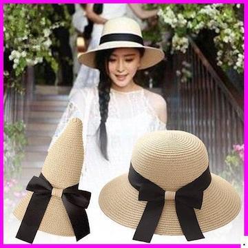 おすすめ春帽子☆ 草編み帽子 3# 日 ザー 折畳み 944
