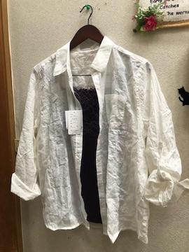 3L新品オフホワイトシワ加工長袖白シャツ