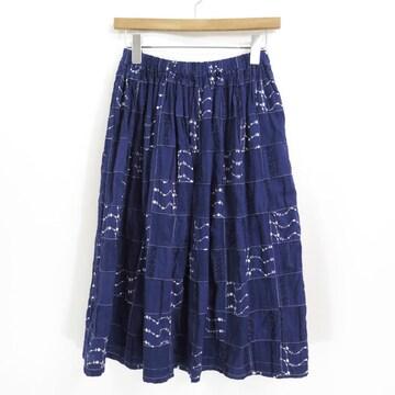 トリコ コムデギャルソン パッチワーク 刺繍 インディゴ フレア スカート
