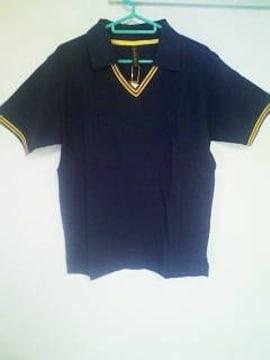 A-210★新品★半袖襟付きVネックシャツ ネイビー M