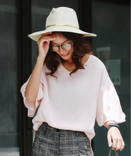 セール●定価3,542円●フレアスリーブ とろみブラウス●ピンク < 女性ファッションの