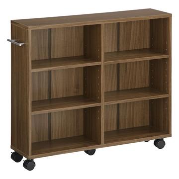 本棚 キャスター付 隙間収納 木製 取っ手付 ウォールナット