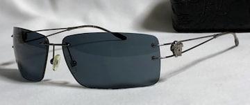 正規美レア VERSACEヴェルサーチ ヴィンテージ メデューサロゴ メタルサングラス黒 ブラック
