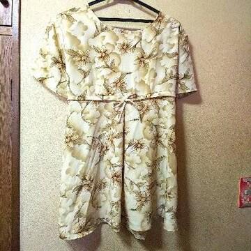 monica★新品★ゆったり系花柄チュニック/薄黄M