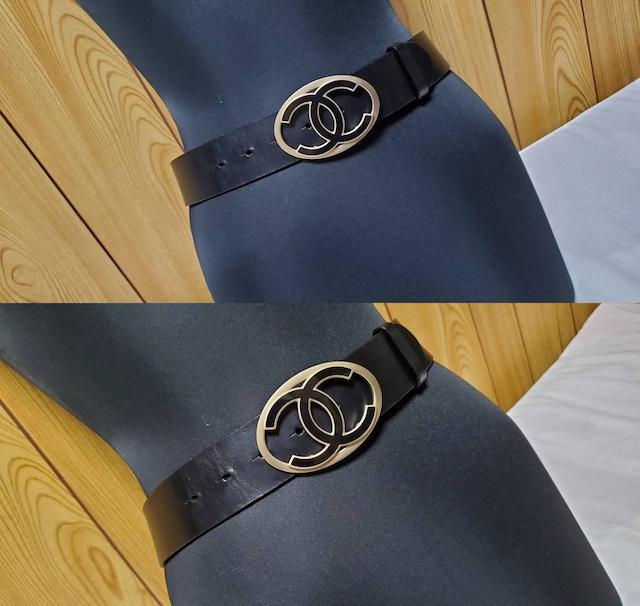 正規美 シャネル クルーズ ココマークロゴバックルベルト黒 75 4cm幅レザー CCアイコンL < ブランドの