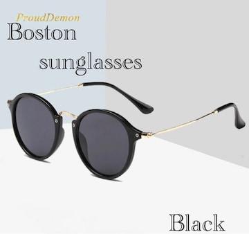 サングラス ボストン  ミラーレンズ 伊達メガネ UV400 ブラック