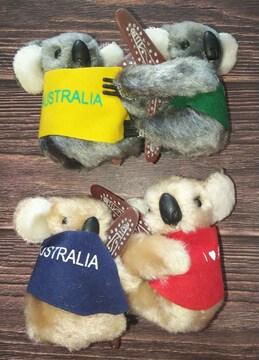AUSTRALIAアイラブオーストラリアブーメランコアラぬいぐるみマスコットメモスタンド4個セット