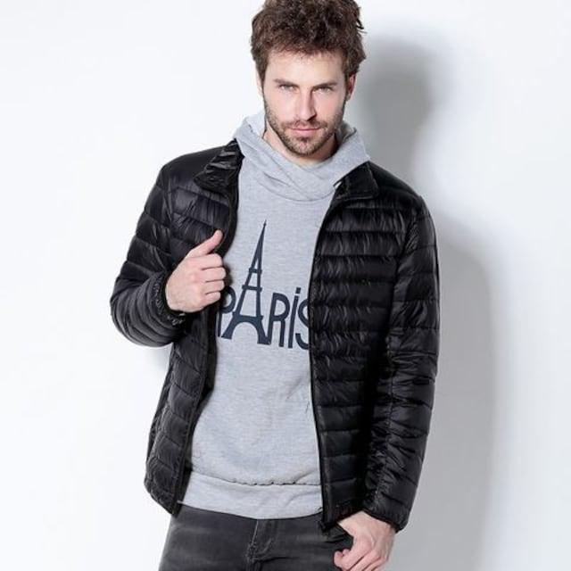 軽量 メンズ ダウンジャケット ブラック XLサイズ  < 男性ファッションの