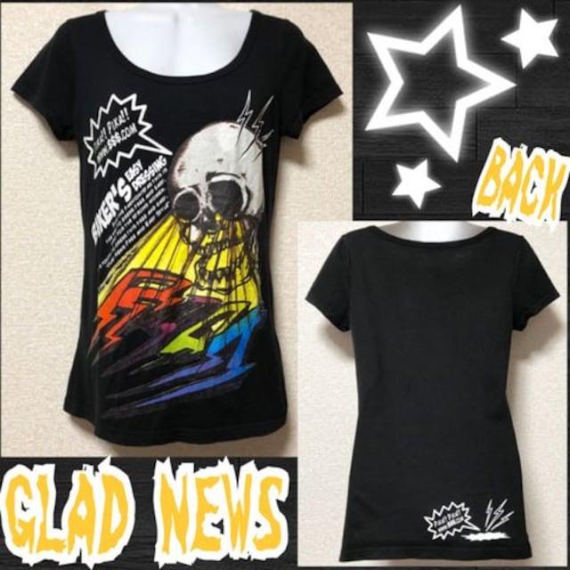 【GLAD NEWS】スカルEyeビームプリントTシャツ  < ブランドの