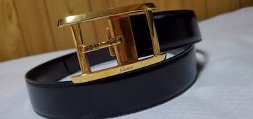 正規良 カルティエ アルディロン タンク ゴールドバックル リバーシブルレザーベルト黒×茶