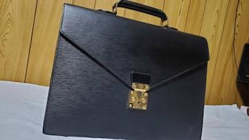 正規美 ルイヴィトン エピ ビジネスバッグ黒 ブリーフケース 書類鞄 メンズ ベタ無