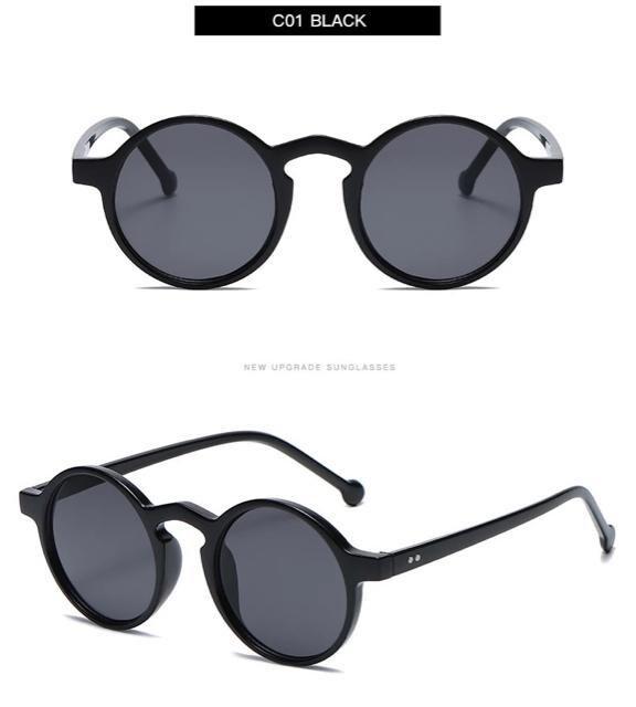 サングラス ラウンド メガネ レンズ 伊達メガネ UV400 黒 < 男性ファッションの