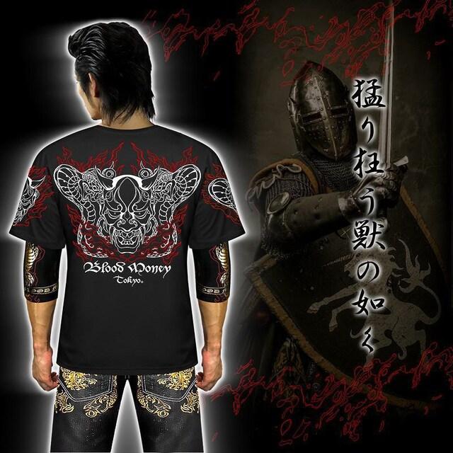 L 半袖 Tシャツ 和柄 蛇般若 コブラ 鬼 夜叉 黒 メンズ 派手 服 21004 < 男性ファッションの