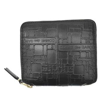 ◆新品本物◆コムデギャルソン EMBOSSES LOGO 2つ折財布(BK)SA2100EL