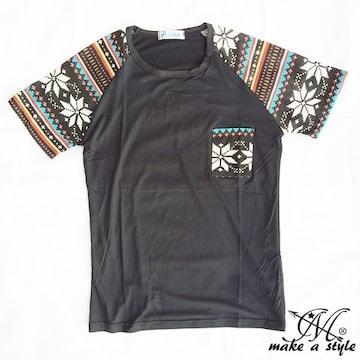 幾何学 エスニック ラグラン Tシャツ TEE 半袖 ブラック 48L