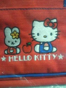 ハローキティ 刺繍 ミニ ボストンバッグ レッド ブルー