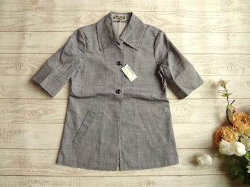新品 定価¥15540 villa lalu 半袖 ジャケット ブルーグレー