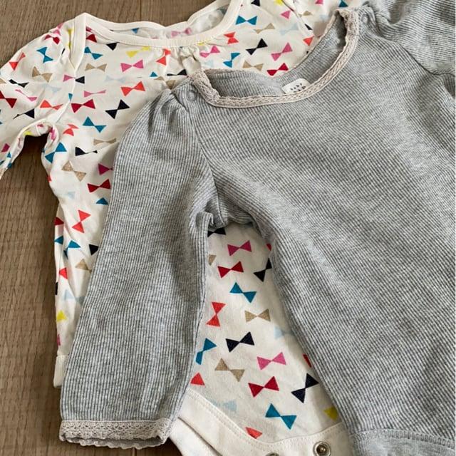 baby Gap女の子ベビ長袖ロンパ6-12mインナー肌着2個セット < ブランドの