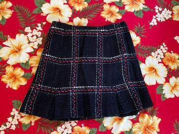 prideglide☆ブラックスカート☆可愛いチェック刺繍☆ラメ入