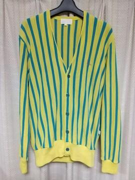 トロイTOROYワンポイントロゴストライプカーディガンMサイズ黄色レトロ日本製ヴィンテージ服