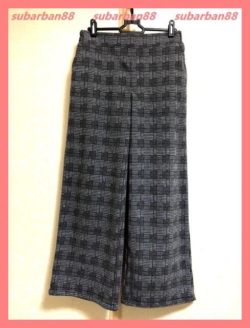 ☆今期新品☆大人カワイイ♪裏起毛チェックセミワイドパンツL☆  < 女性ファッションの