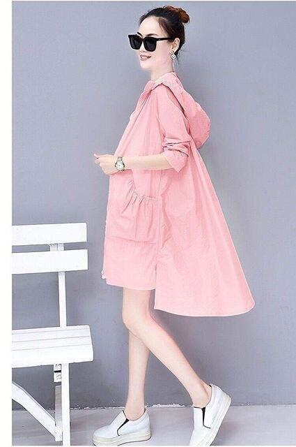 日焼け対策!! フード付きロングカーディガン(XL寸・ピンク) < 女性ファッションの