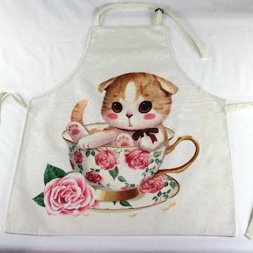★猫柄エプロン マグカップの中の可愛い薔薇ネコ 白地
