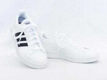 adidas アディダス グランドコート EE7904 WT/BK 23.5cm