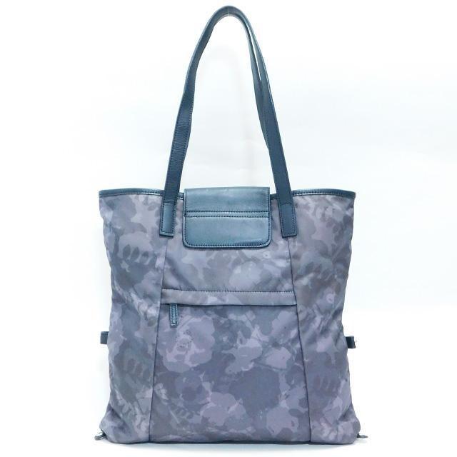 ハンティングワールド トートバッグ 花柄 紺×濃グレー系 正規品 < ブランドの