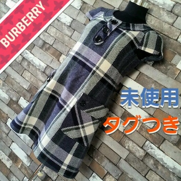 BURBERRY ワンピース 青紺白 チェック柄