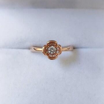 4℃ プレジェンス ダイヤモンド フラワー リング K18PG 2.8g