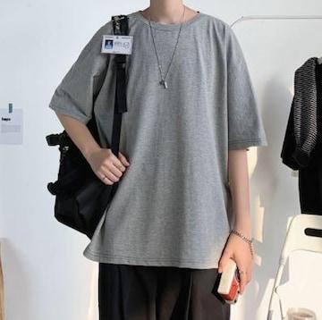 L グレー メンズ シンプル 無地 ビッグシルエット Tシャツ