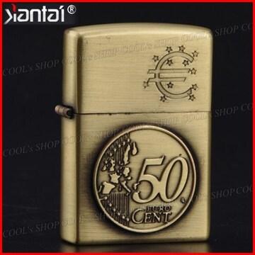 50セントユーロ硬貨デザイン オイルライター Jantai 金 Zippo
