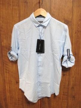 □ZARA/ザラ カジュアルシャツ 長袖/水色/メンズ/S☆新品