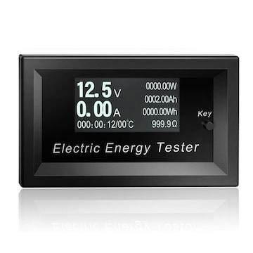 デジタル電圧電流計 DC 電流/電圧/電力/抵抗/温度/通電時間表示